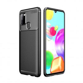 Carbon Fiber TPU Case Samsung Galaxy A21s Hoesje - Zwart