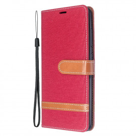 Denim Book Case Samsung Galaxy A51 Hoesje - Rood