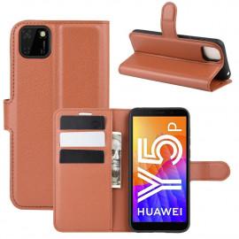 Book Case Huawei Y5P Hoesje - Bruin