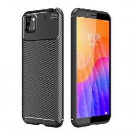Carbon Fiber TPU Case Huawei Y5P Hoesje - Zwart