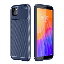 Carbon Fiber TPU Case Huawei Y5P Hoesje - Blauw
