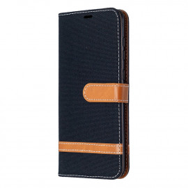 Denim Book Case Samsung Galaxy A21s Hoesje - Zwart