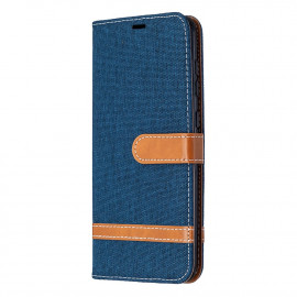 Denim Book Case Samsung Galaxy A21s Hoesje - Donkerblauw