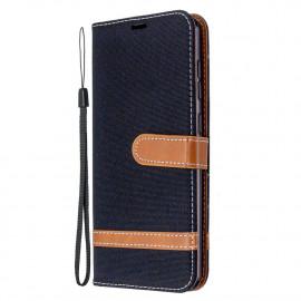 Denim Book Case Samsung Galaxy A31 Hoesje - Zwart