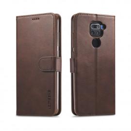 Luxe Book Case Xiaomi Redmi Note 9 Hoesje - Donkerbruin