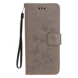 Bloemen Book Case iPhone 12 Mini Hoesje - Grijs