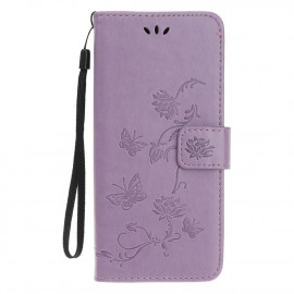 Bloemen Book Case iPhone 12 Mini Hoesje - Paars