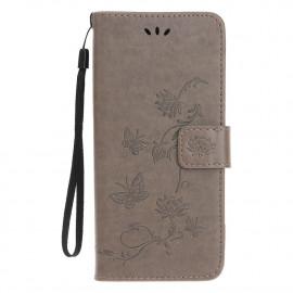 Bloemen Book Case iPhone 12 Hoesje - Grijs