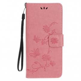 Bloemen Book Case iPhone 12 Hoesje - Pink