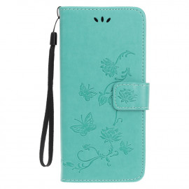Bloemen Book Case iPhone 12 Hoesje - Cyan