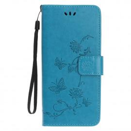 Bloemen Book Case iPhone 12 Pro Hoesje - Blauw