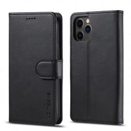 Luxe Book Case iPhone 12 Hoesje - Zwart