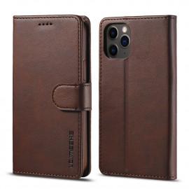 Luxe Book Case iPhone 12 Pro Hoesje - Donkerbruin