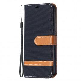Denim Book Case iPhone 12 / 12 Pro Hoesje - Zwart