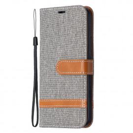 Denim Book Case iPhone 12 / 12 Pro Hoesje - Grijs