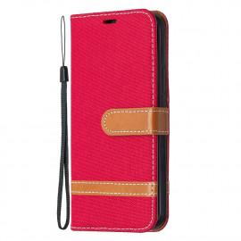 Denim Book Case iPhone 12 / 12 Pro Hoesje - Rood