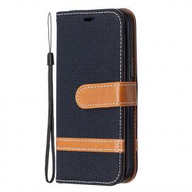 Denim Book Case iPhone 12 Mini Hoesje - Zwart