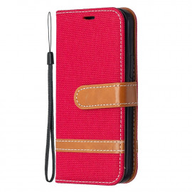 Denim Book Case iPhone 12 Mini Hoesje - Rood