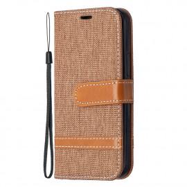 Denim Book Case iPhone 12 Mini Hoesje - Bruin