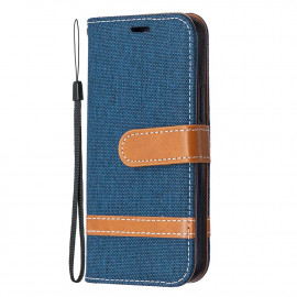 Denim Book Case iPhone 12 Mini Hoesje - Blauw