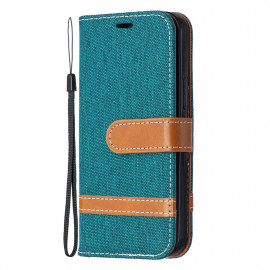 Denim Book Case iPhone 12 Mini Hoesje - Groen