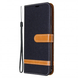 Denim Book Case Samsung Galaxy M11 / A11 Hoesje - Zwart