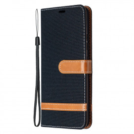 Denim Book Case Samsung Galaxy A42 Hoesje - Zwart