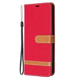 Denim Book Case Samsung Galaxy A42 Hoesje - Rood