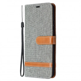 Denim Book Case Samsung Galaxy A42 Hoesje - Grijs