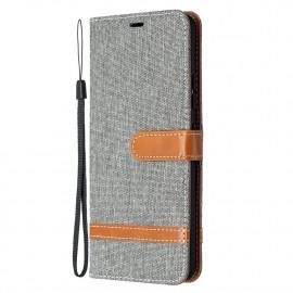 Denim Book Case Samsung Galaxy A42 Hoesje - Grijs