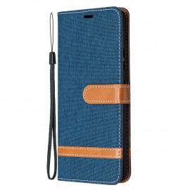 Denim Book Case Samsung Galaxy A42 Hoesje - Blauw