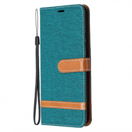Denim Book Case Samsung Galaxy A42 Hoesje - Groen
