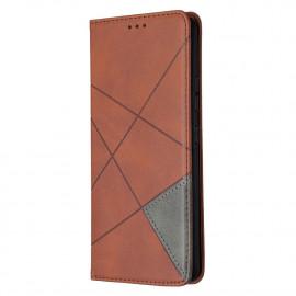 Geometric Book Case Samsung Galaxy A42 Hoesje - Donkerbruin