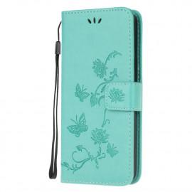 Bloemen Book Case Samsung Galaxy A42 Hoesje - Cyan