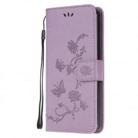 Bloemen Book Case Samsung Galaxy A42 Hoesje - Paars