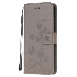 Bloemen Book Case Motorola Moto E7 Hoesje - Grijs
