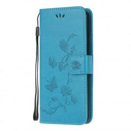 Bloemen Book Case Motorola Moto E7 Hoesje - Blauw