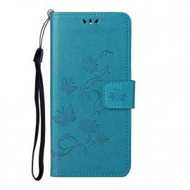Bloemen Book Case Nokia 2.4 Hoesje - Blauw