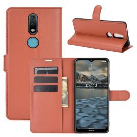Book Case Nokia 2.4 Hoesje - Bruin