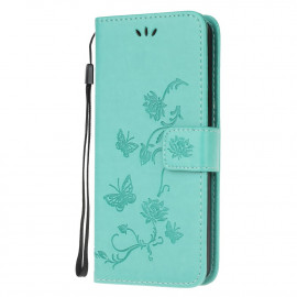 Bloemen Book Case Samsung Galaxy A32 5G Hoesje - Cyan