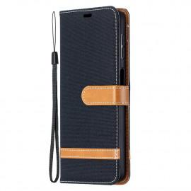 Denim Book Case Samsung Galaxy A32 5G Hoesje - Zwart