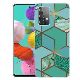 Marmer TPU Samsung Galaxy A32 5G Hoesje - Groen / Goud