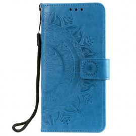 Bloemen Book Case Xiaomi Redmi Note 9T Hoesje - Blauw