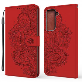Bloemen Book Case Samsung Galaxy S21 Plus Hoesje - Rood