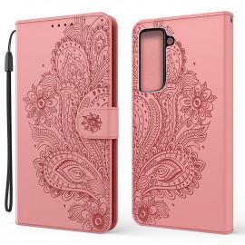 Bloemen Book Case Samsung Galaxy S21 Plus Hoesje - Pink