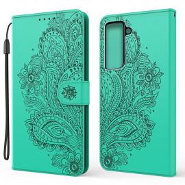 Bloemen Book Case Samsung Galaxy S21 Plus Hoesje - Groen
