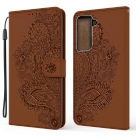 Bloemen Book Case Samsung Galaxy S21 Plus Hoesje - Bruin