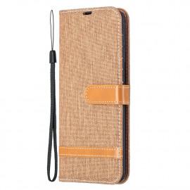 Denim Book Case Samsung Galaxy S21 Plus Hoesje - Bruin