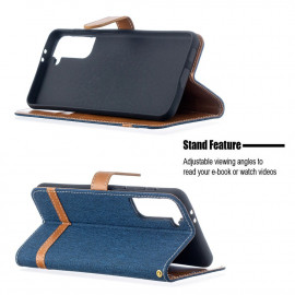 Denim Book Case Samsung Galaxy S21 Plus Hoesje - Blauw