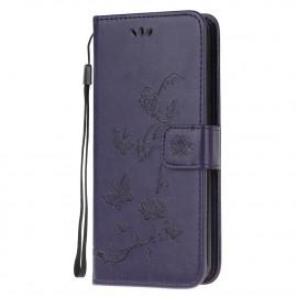 Bloemen Book Case Samsung Galaxy A12 Hoesje - Donkerpaars